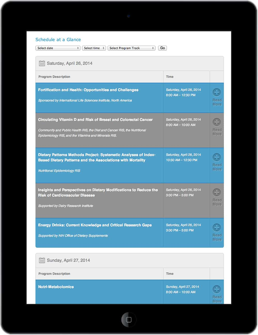 Responsive conference website
