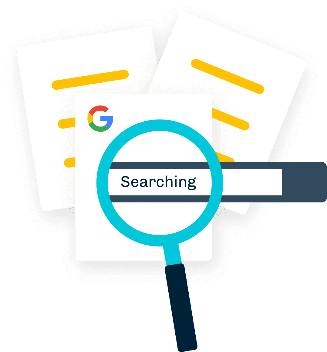 magnifying glass and a google search bar illustration