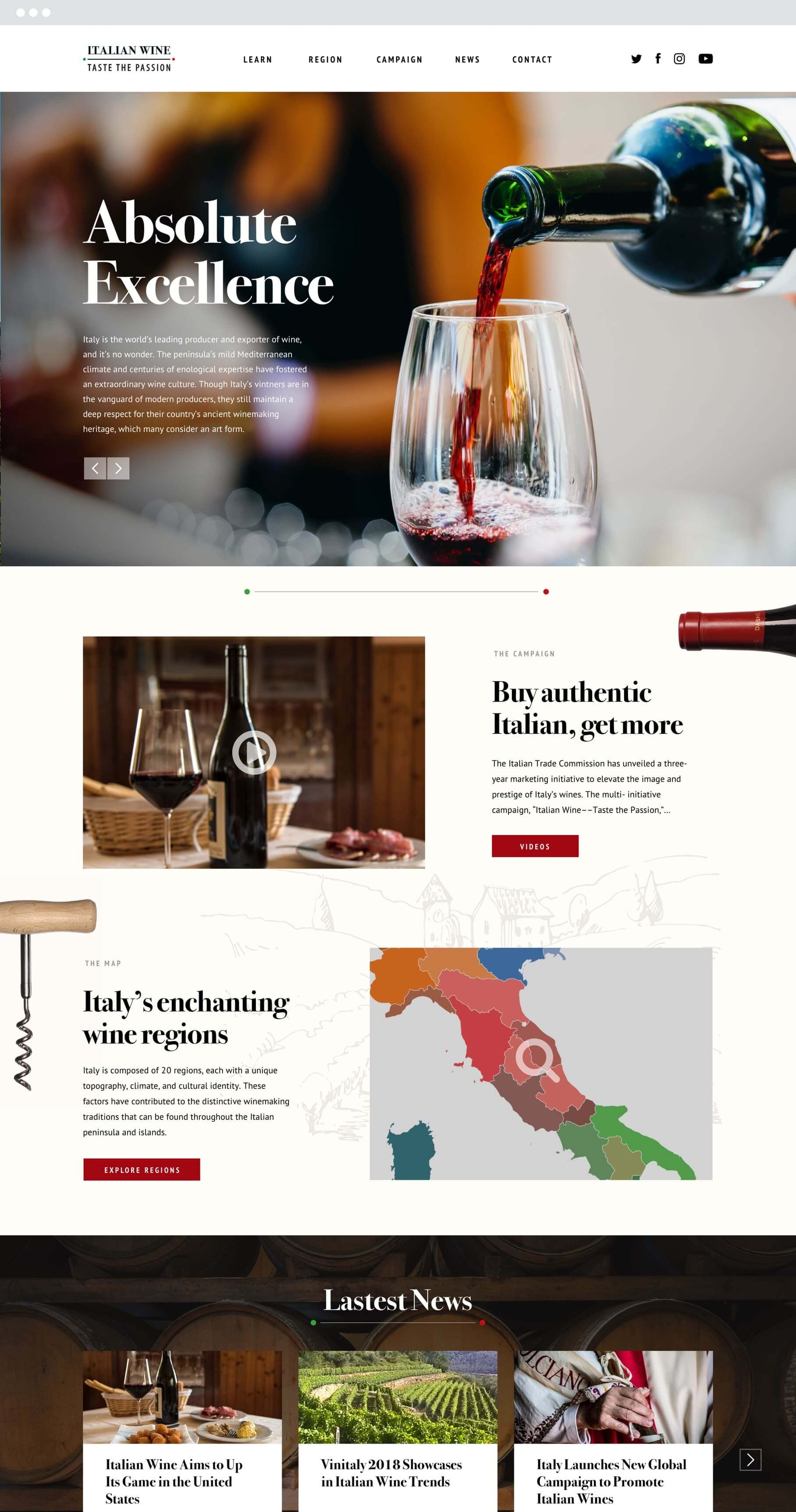 homepage view of italian wine page