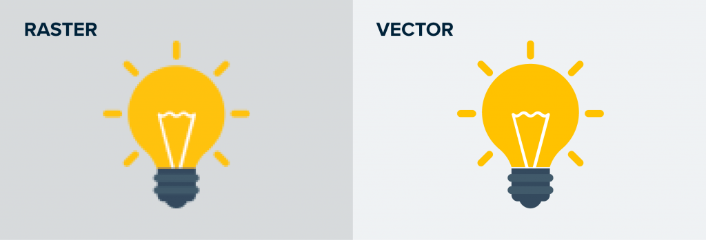 raster vs vector comparison with light bulbs