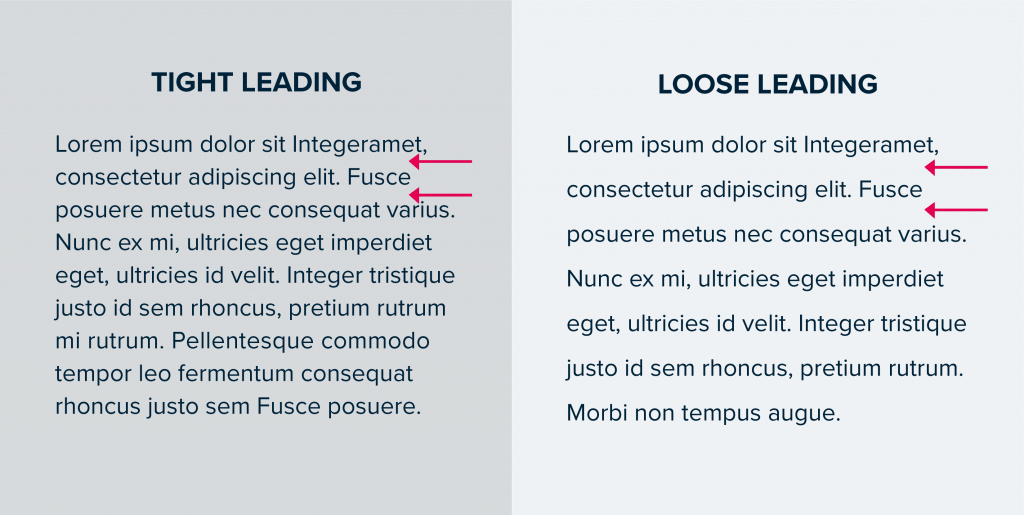 tight and loose leading for fonts