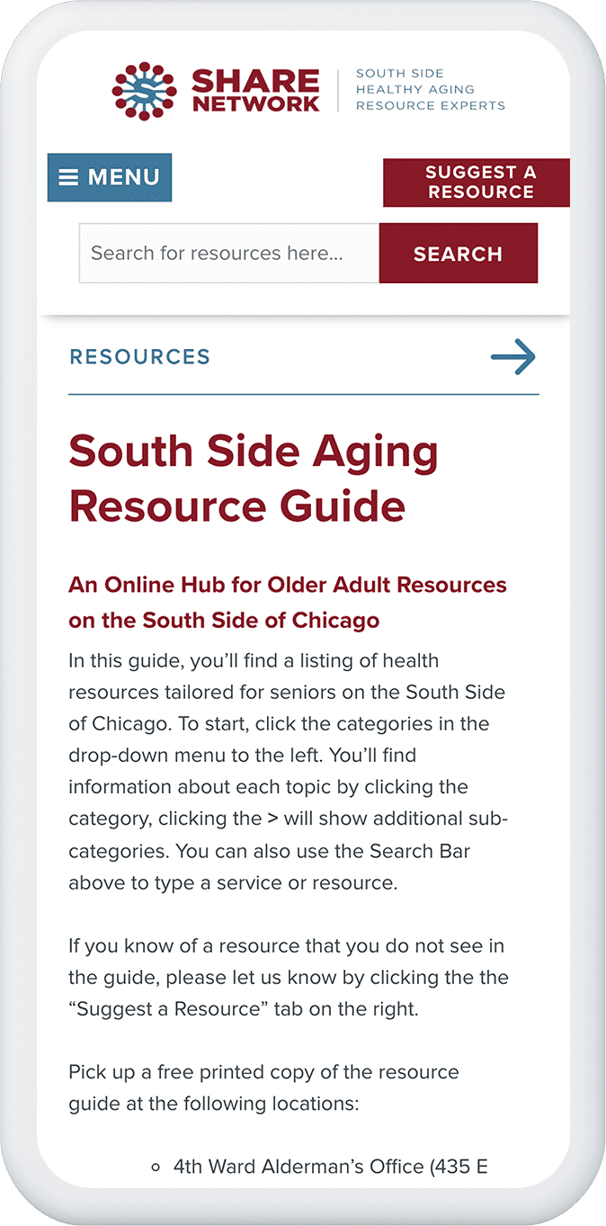 Share Network resource guide mobile view