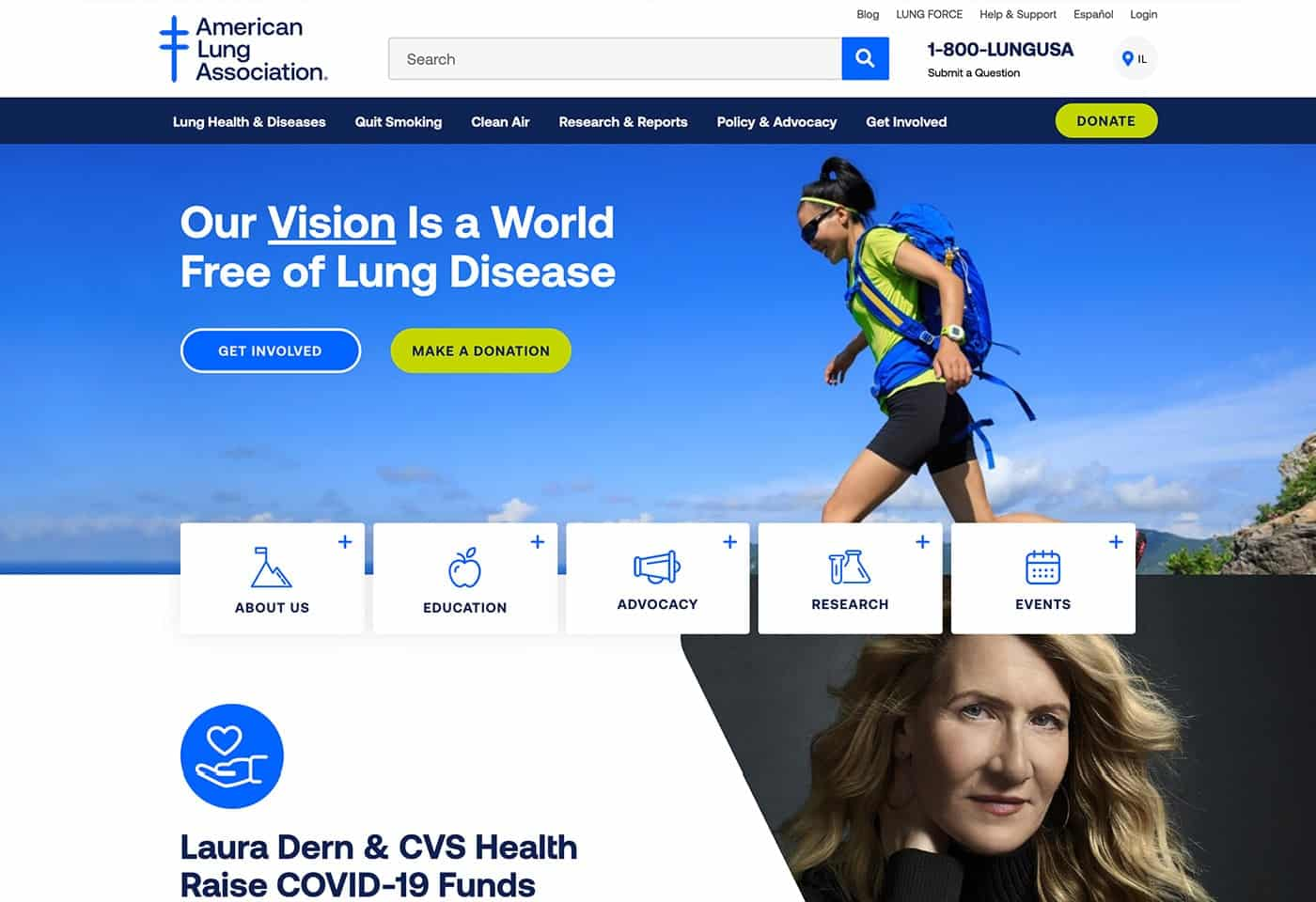 American lung association screenshot
