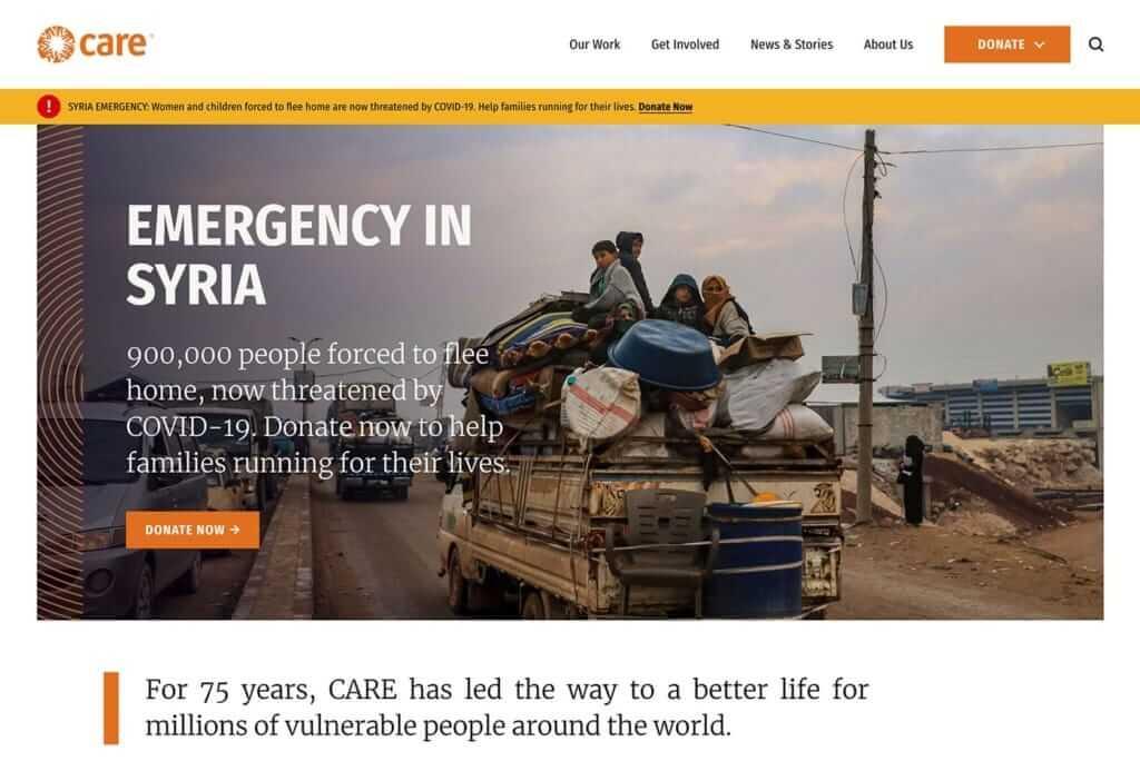 Care non-profit website