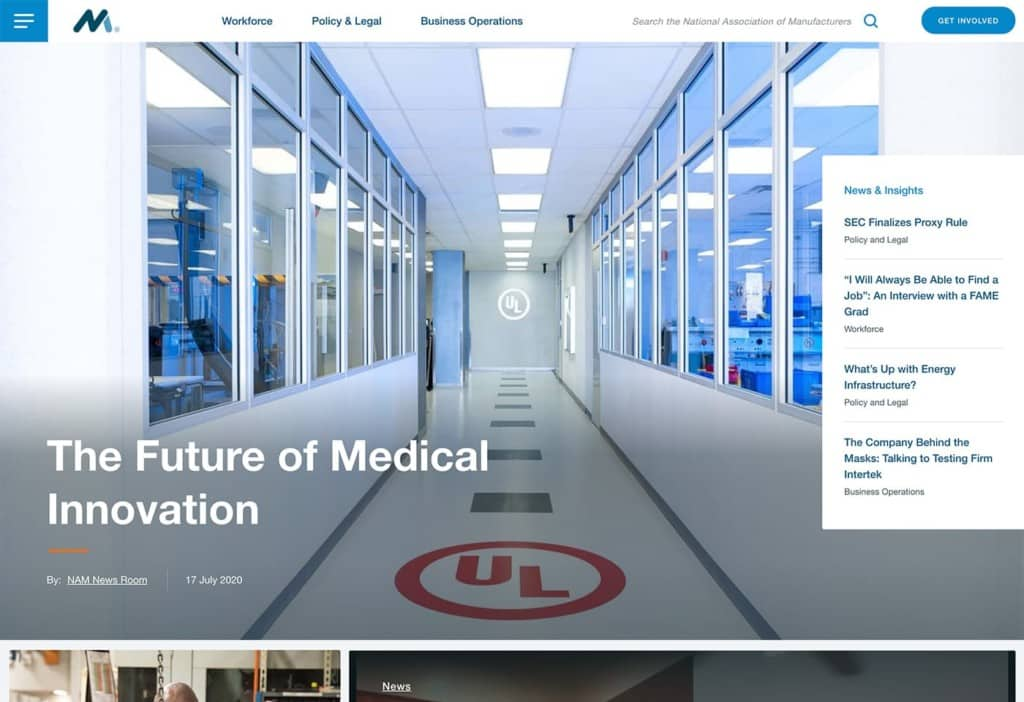 The National Association of Manufacturers (NAM) screenshot