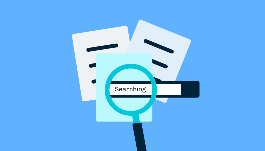 graphic showing a search bar behind three documents