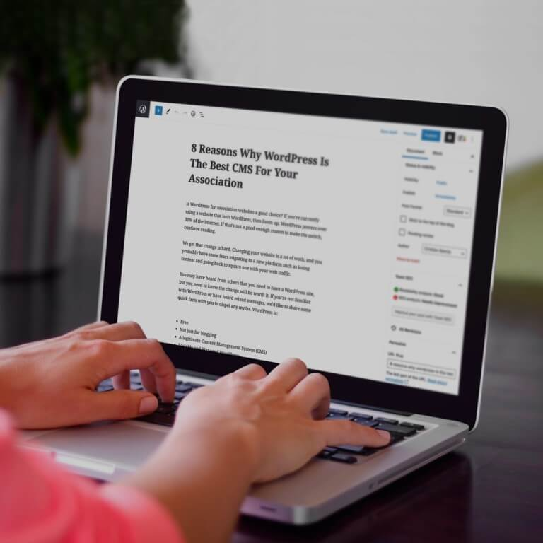 person typing a post in wordpress