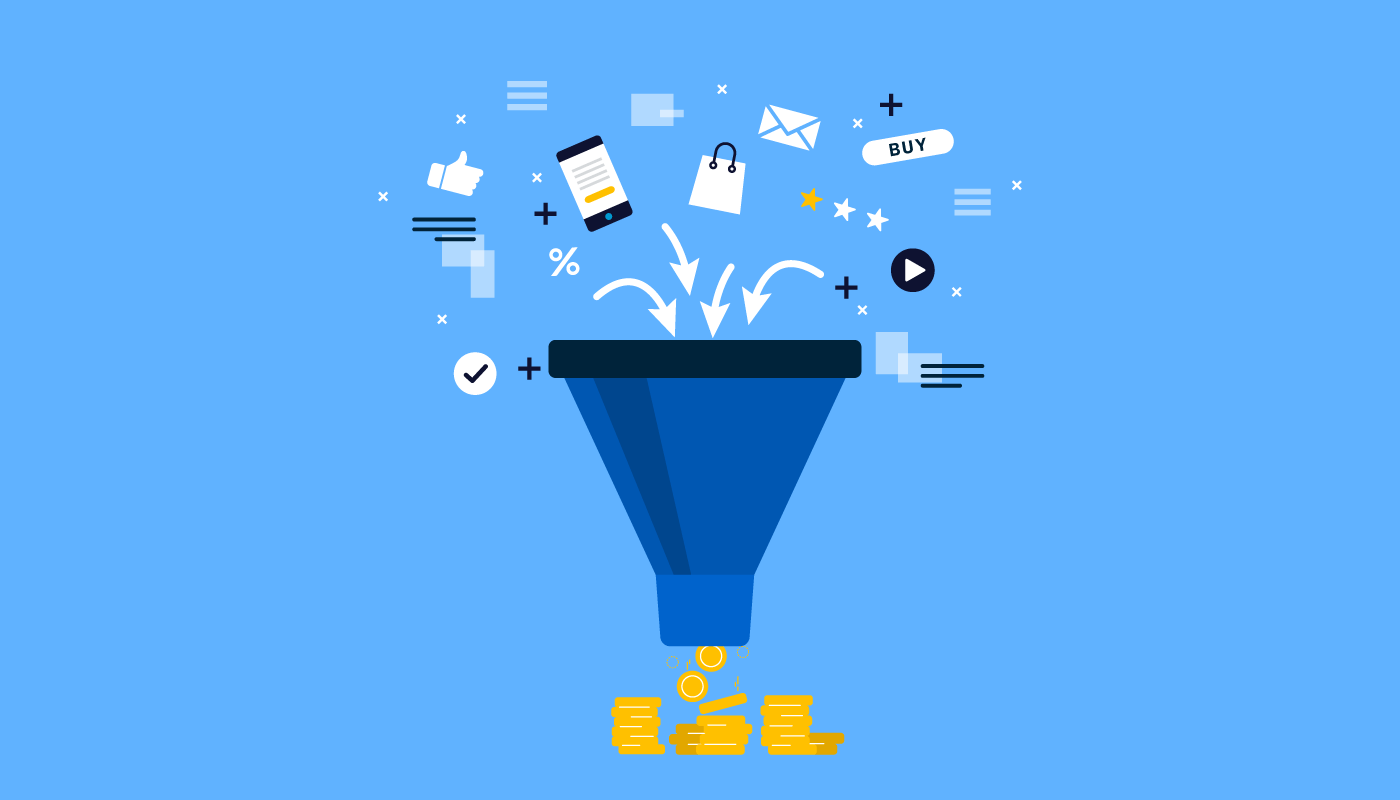 marketing elements dropping inside a funnel