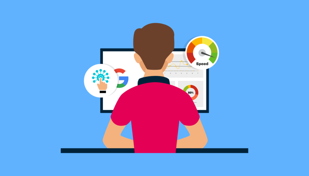 graphic of man reviewing web analytics and reporting