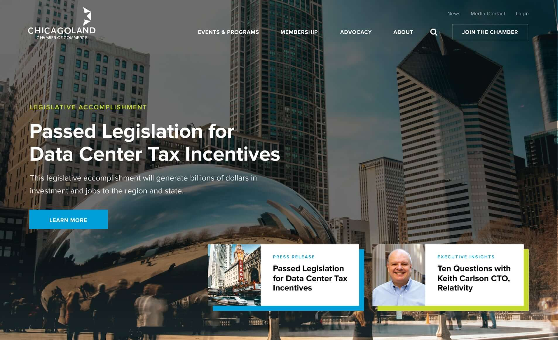 showing Chicagoland Chamber of Commerce homepage hero
