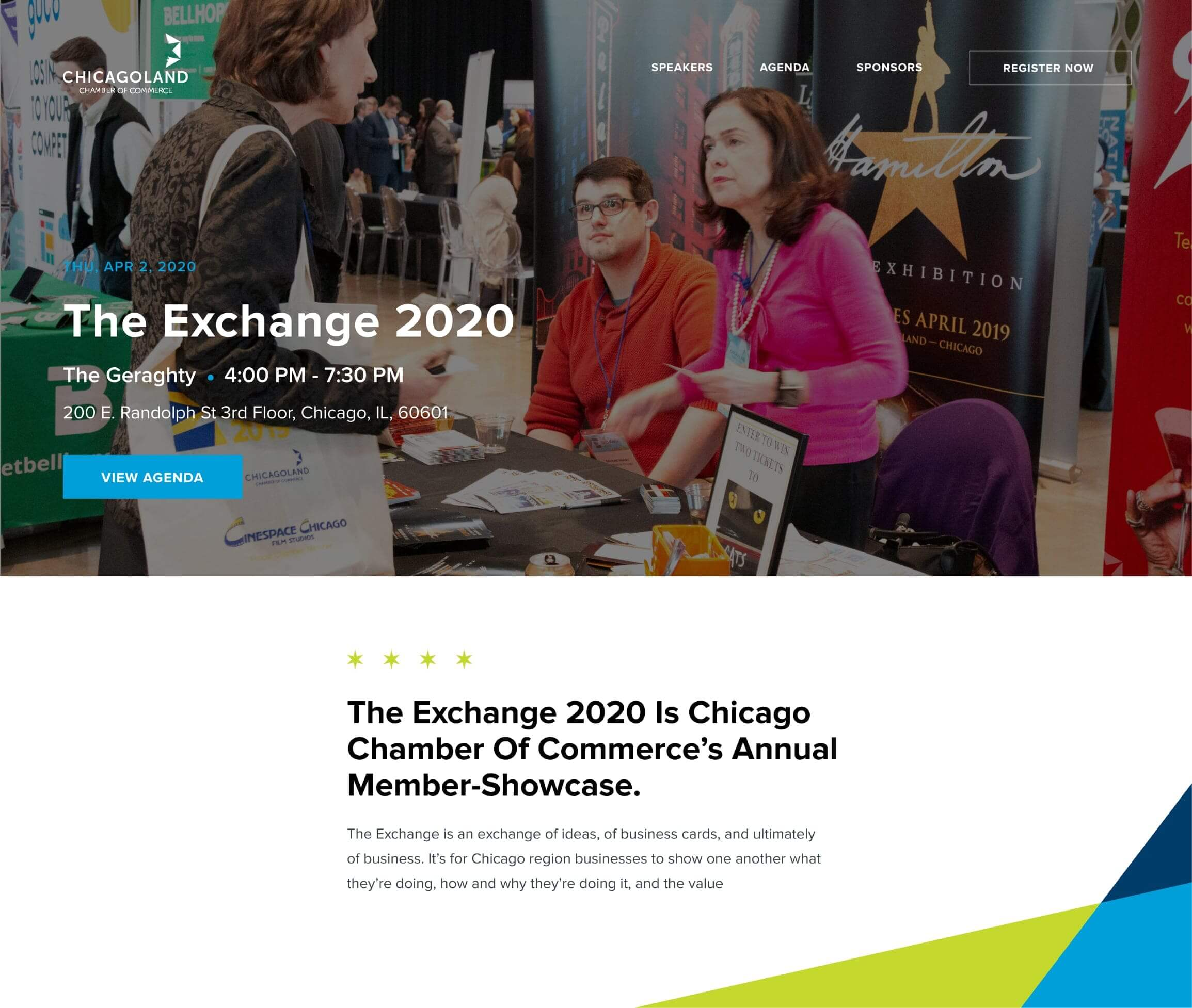 displaying Chicagoland Chamber of Commerce signature event page