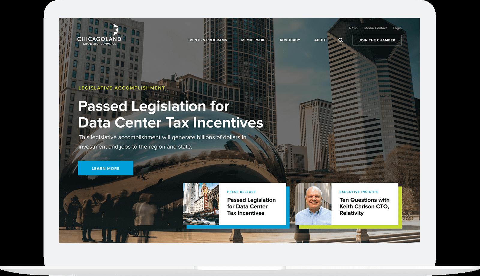 Chicagoland Chamber of Commerce homepage hero