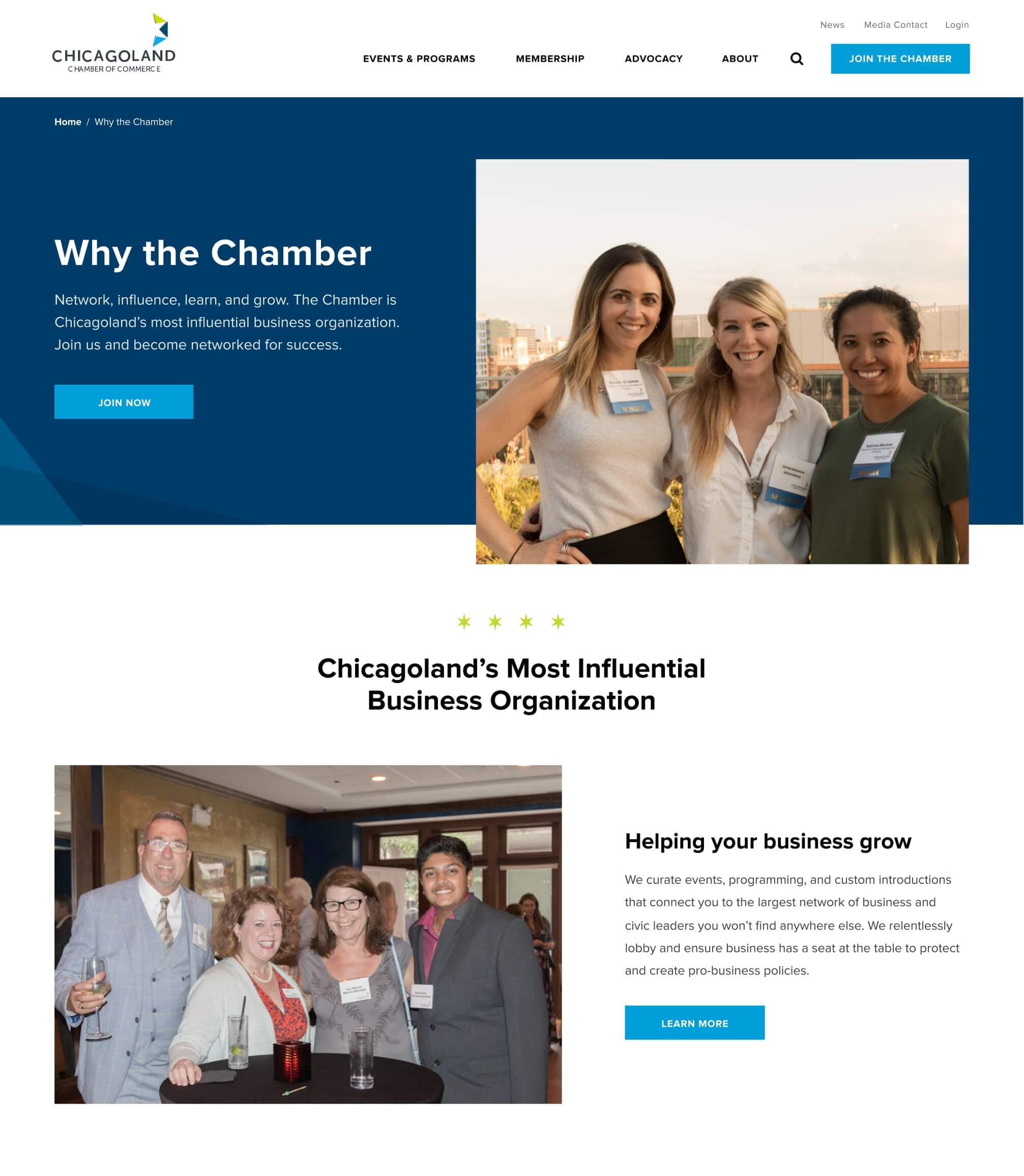 example of a landing page designed for the Chicagoland Chamber of Commerce