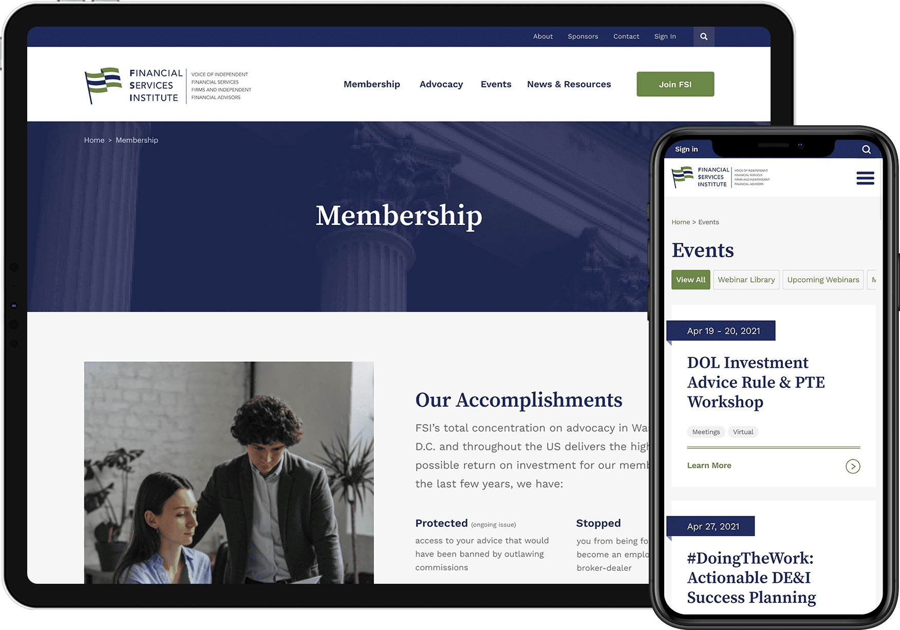 Financial Services Institute responsive design