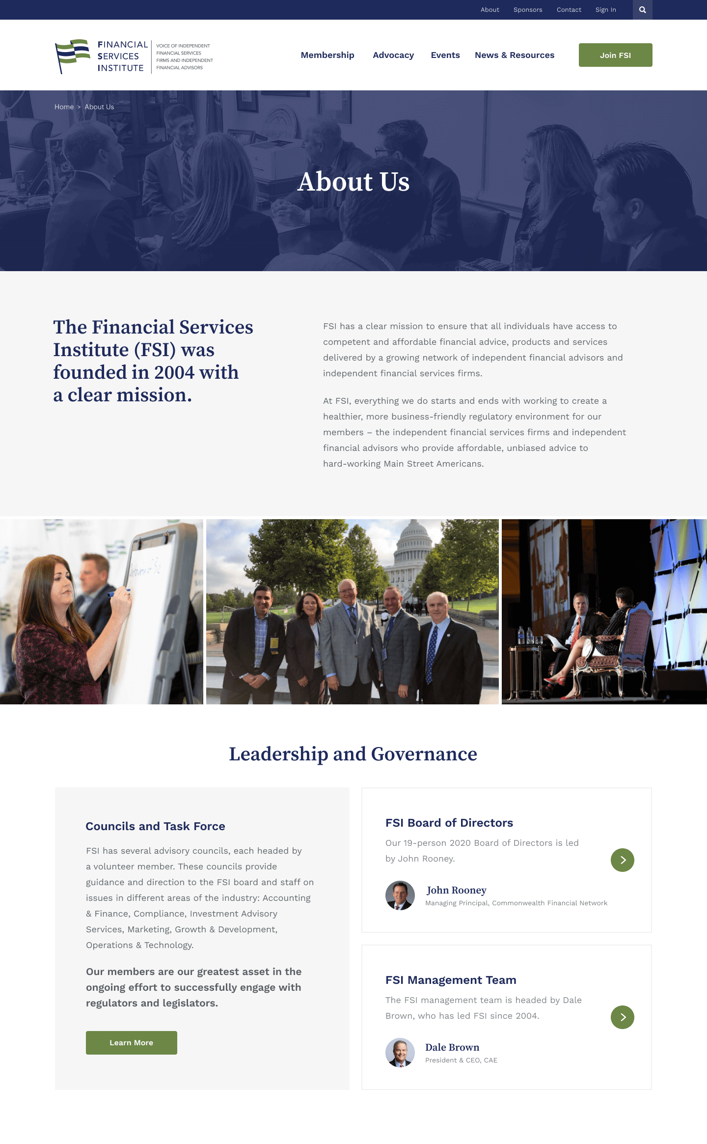 Financial Services Institute about page design