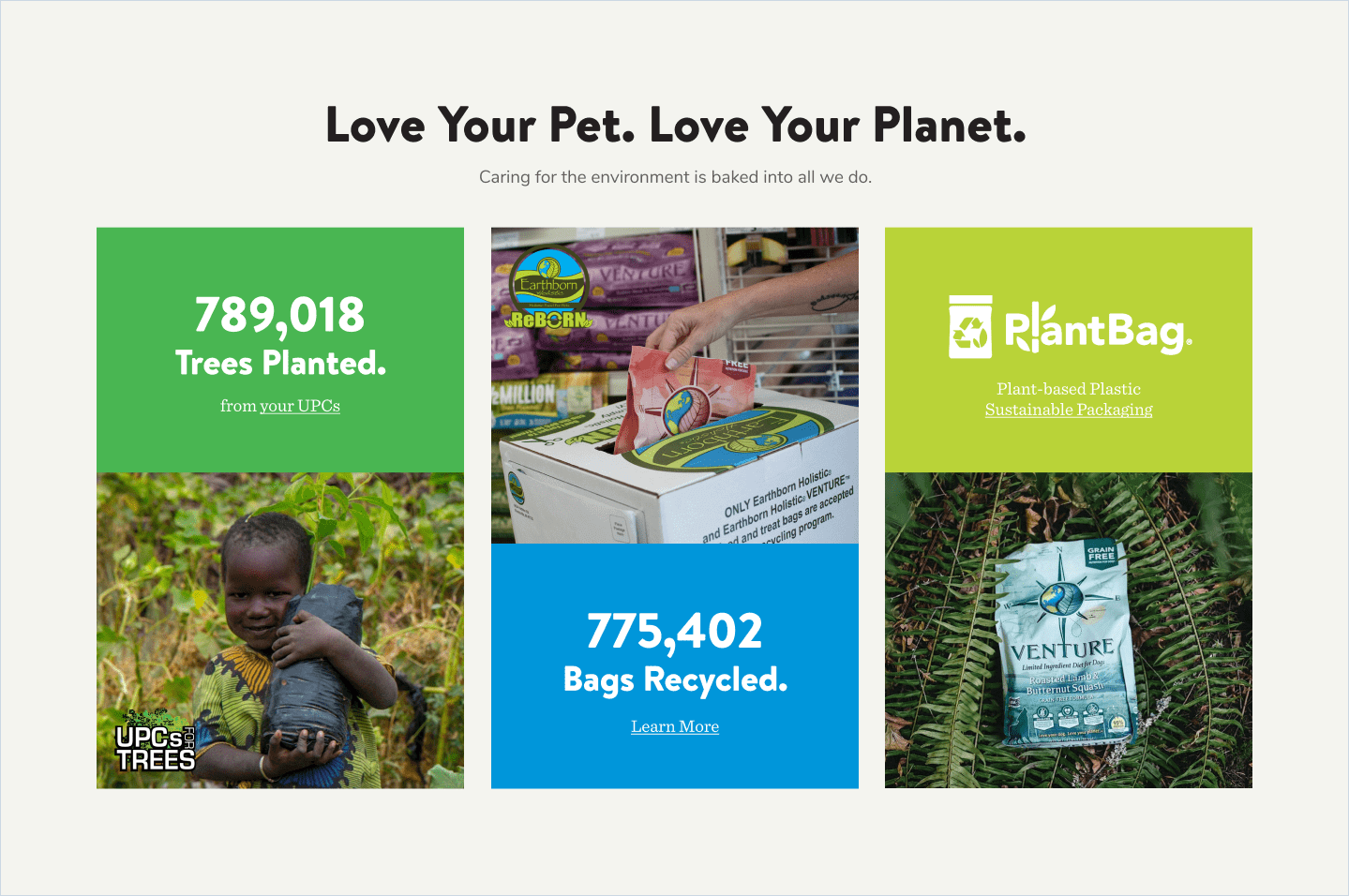 Earthborn love your planet section