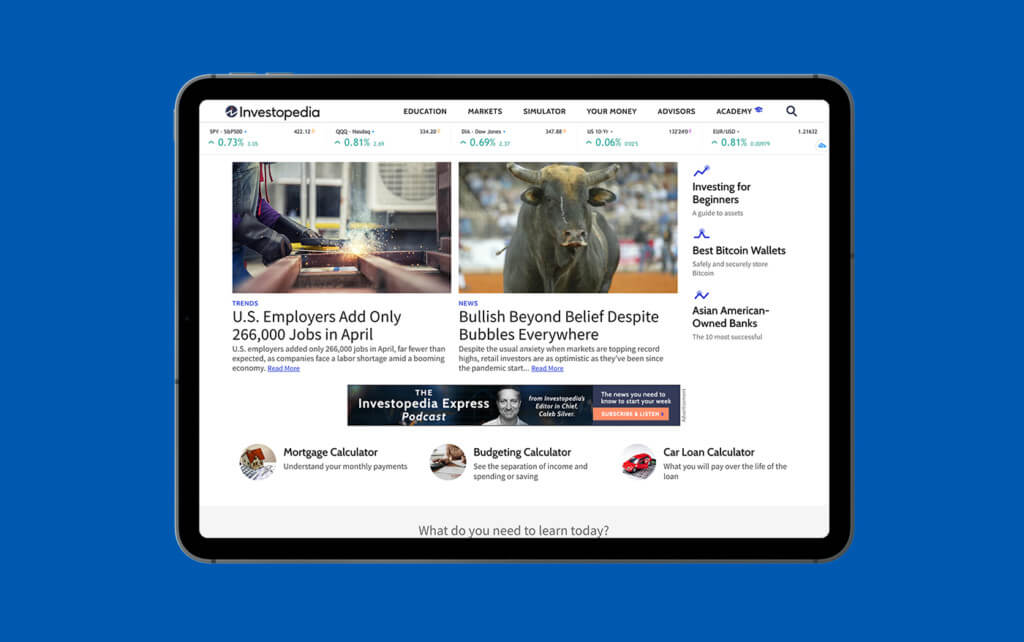 Investopedia home on tablet