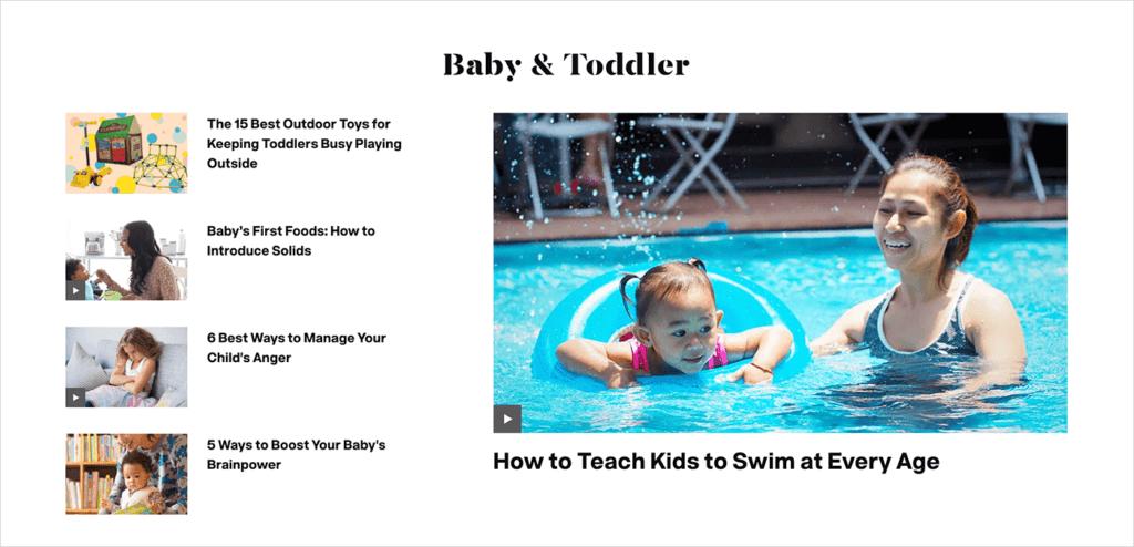 showing a parents.com blog section