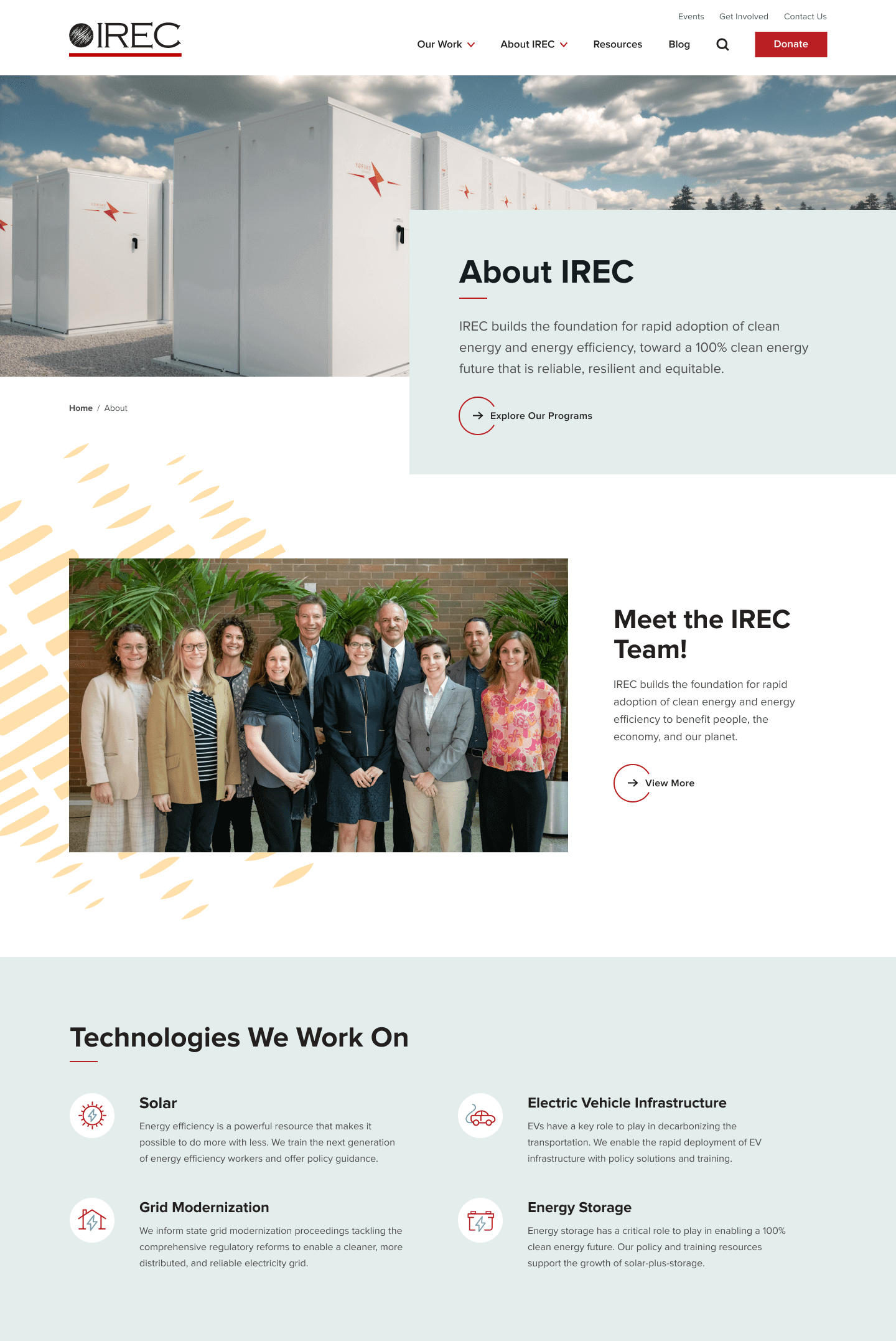 IREC landing page